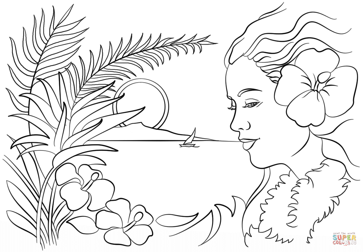 Beautiful Hawaii coloring page | Free Printable Coloring Pages