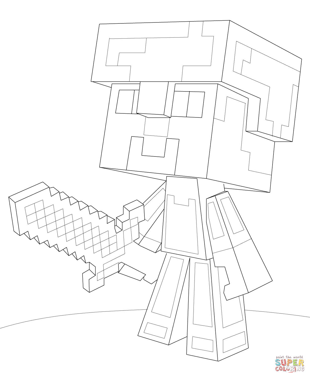 Minecraft Steve Diamond Armor Coloring Page