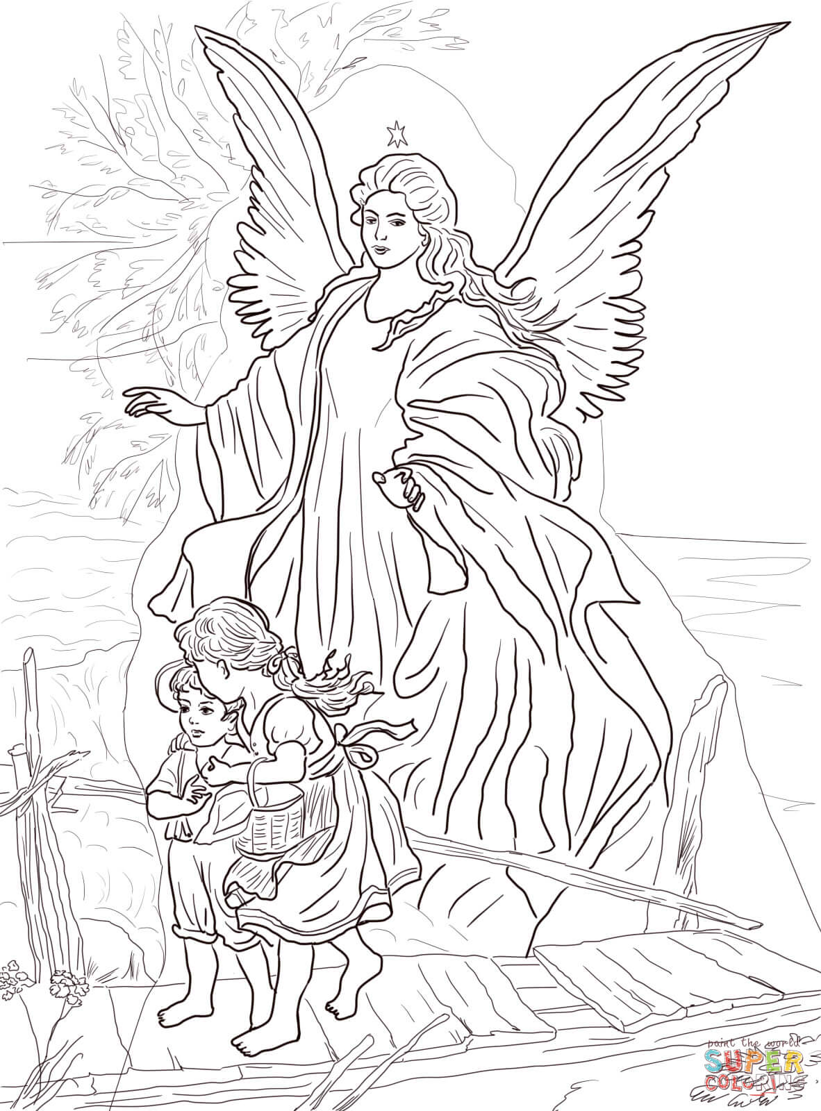 Children Are Protected by Guardian Angel coloring page | Free ...