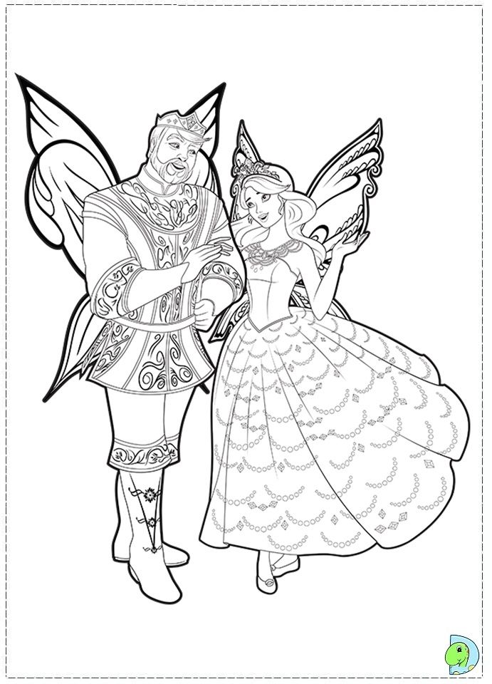 It is a graphic of Divine Barbie Fairy Coloring Pages