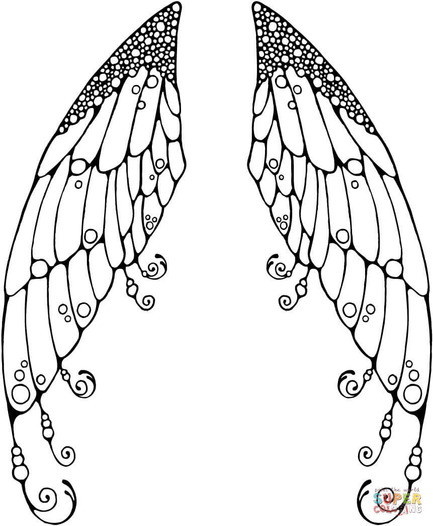printable angel wings coloring pages - photo#24
