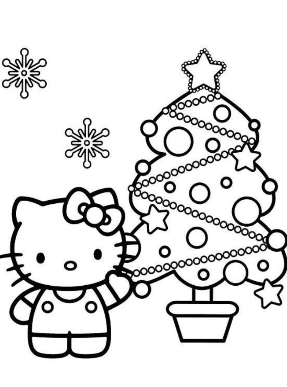 christmas hello kitty coloring pages  Printable Coloring Pages Design