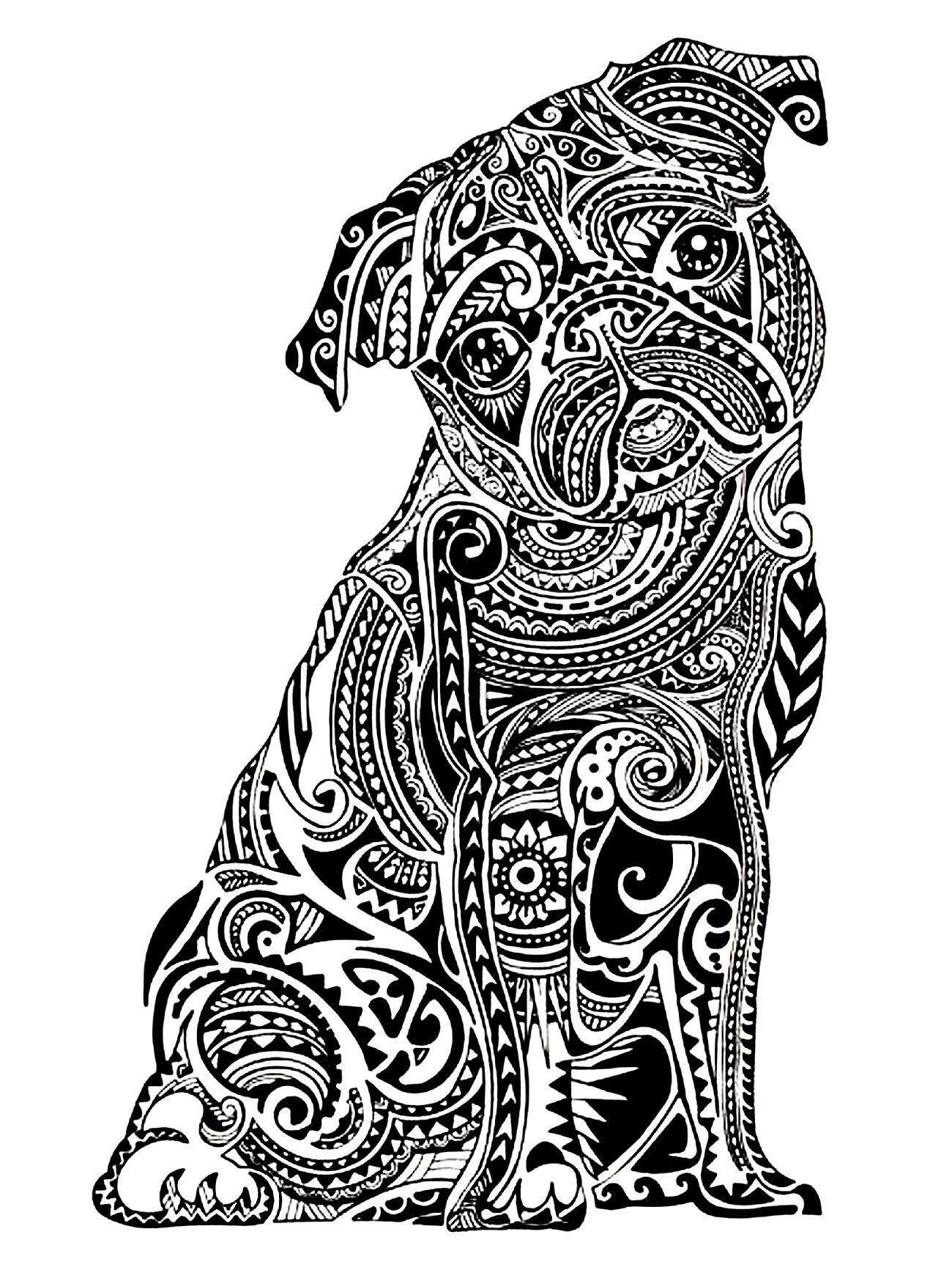 Get the coloring page: Pug | 50 Printable Adult Colouring Pages ...