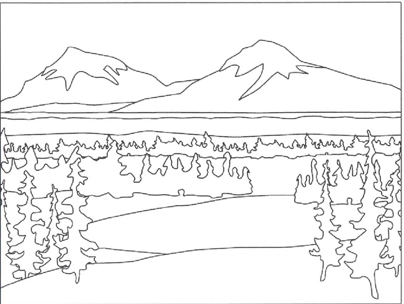 Free coloring pages landscapes - 7 Pics Of Landscape Scene Coloring Pages Mountain Landscape