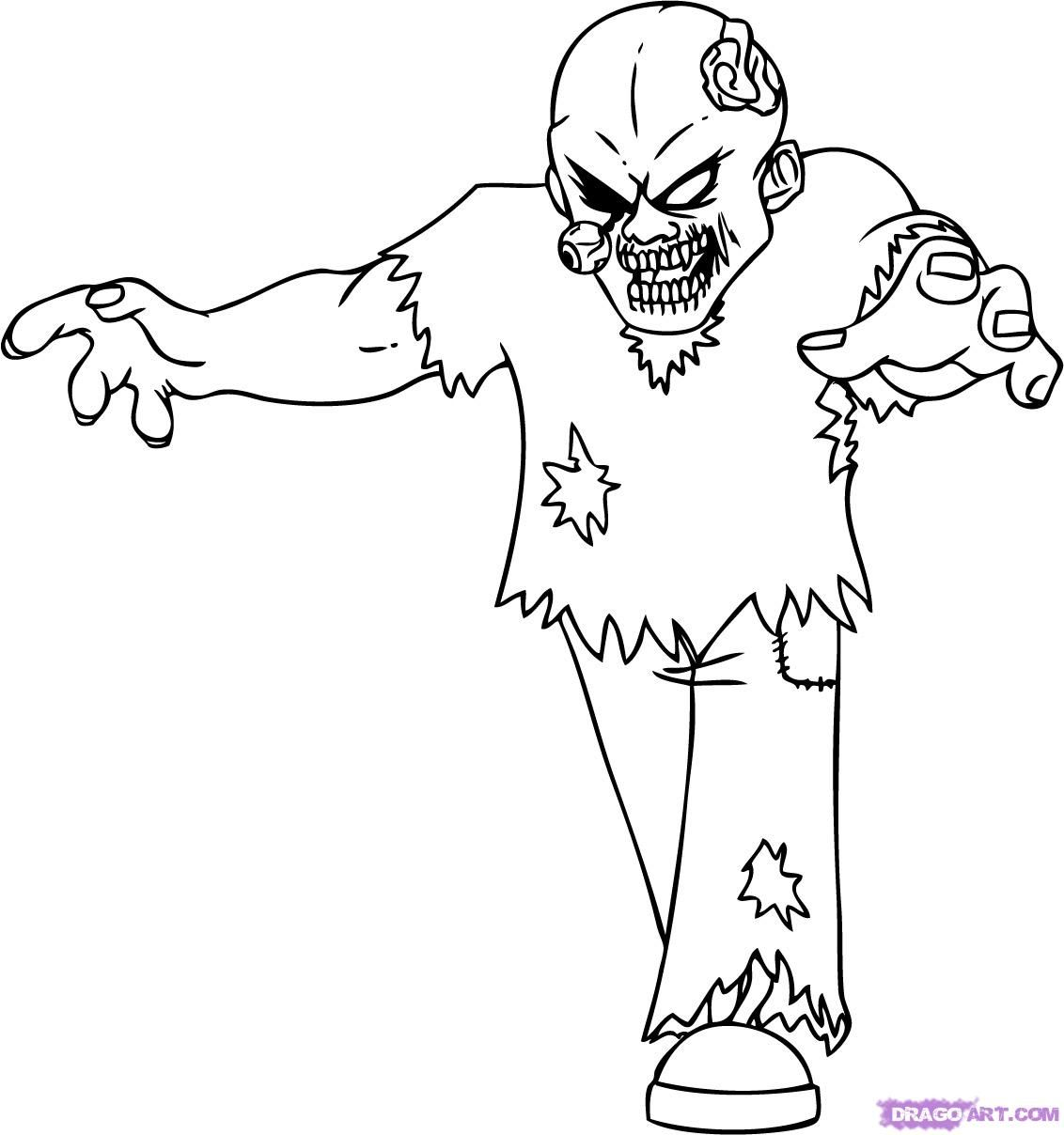 scary zombie coloring pages coloring home