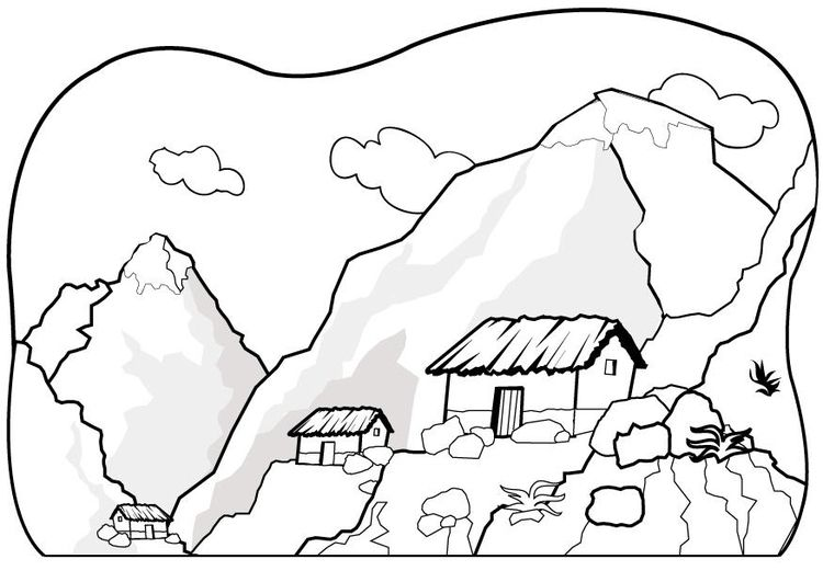 Mountains Coloring Page Coloring Home