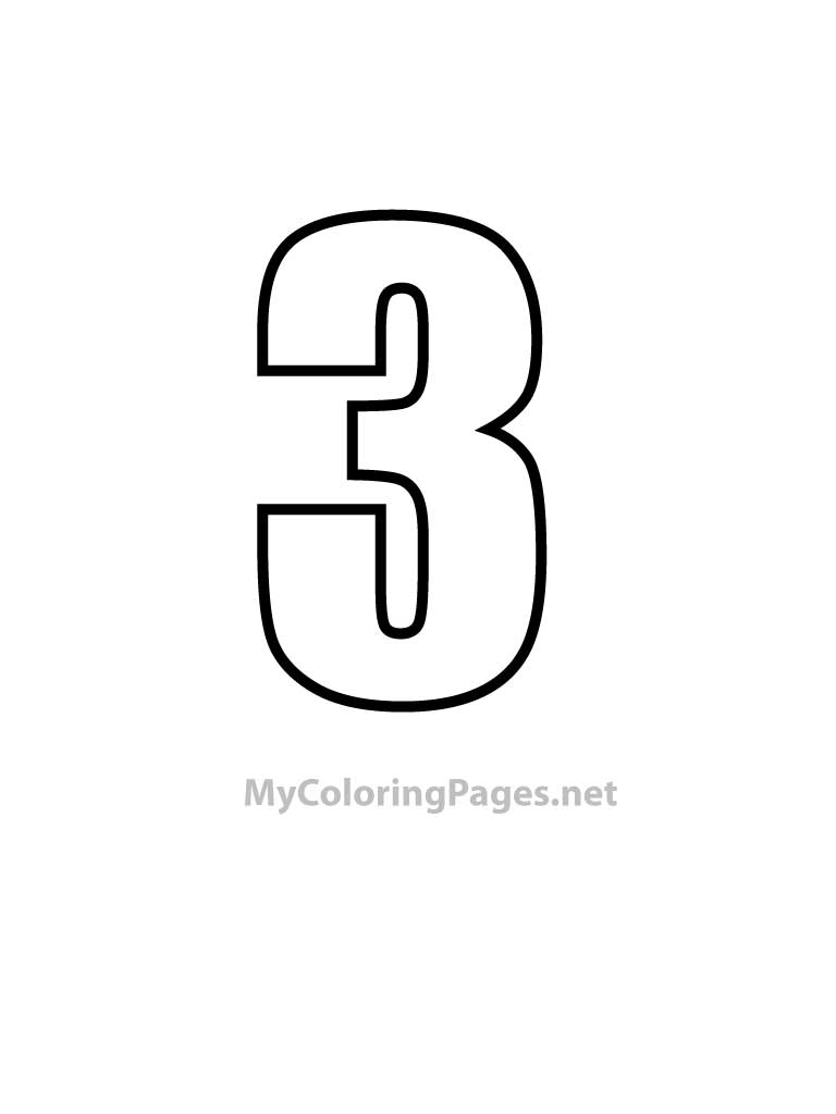 Number 3 Coloring Page Coloring Home