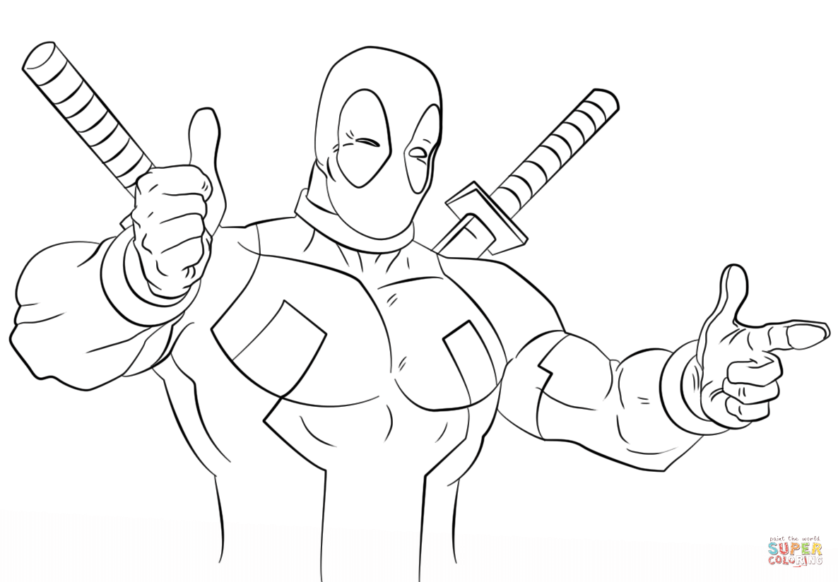 Cartoon Deadpool Coloring Page Free Printable Coloring Pages