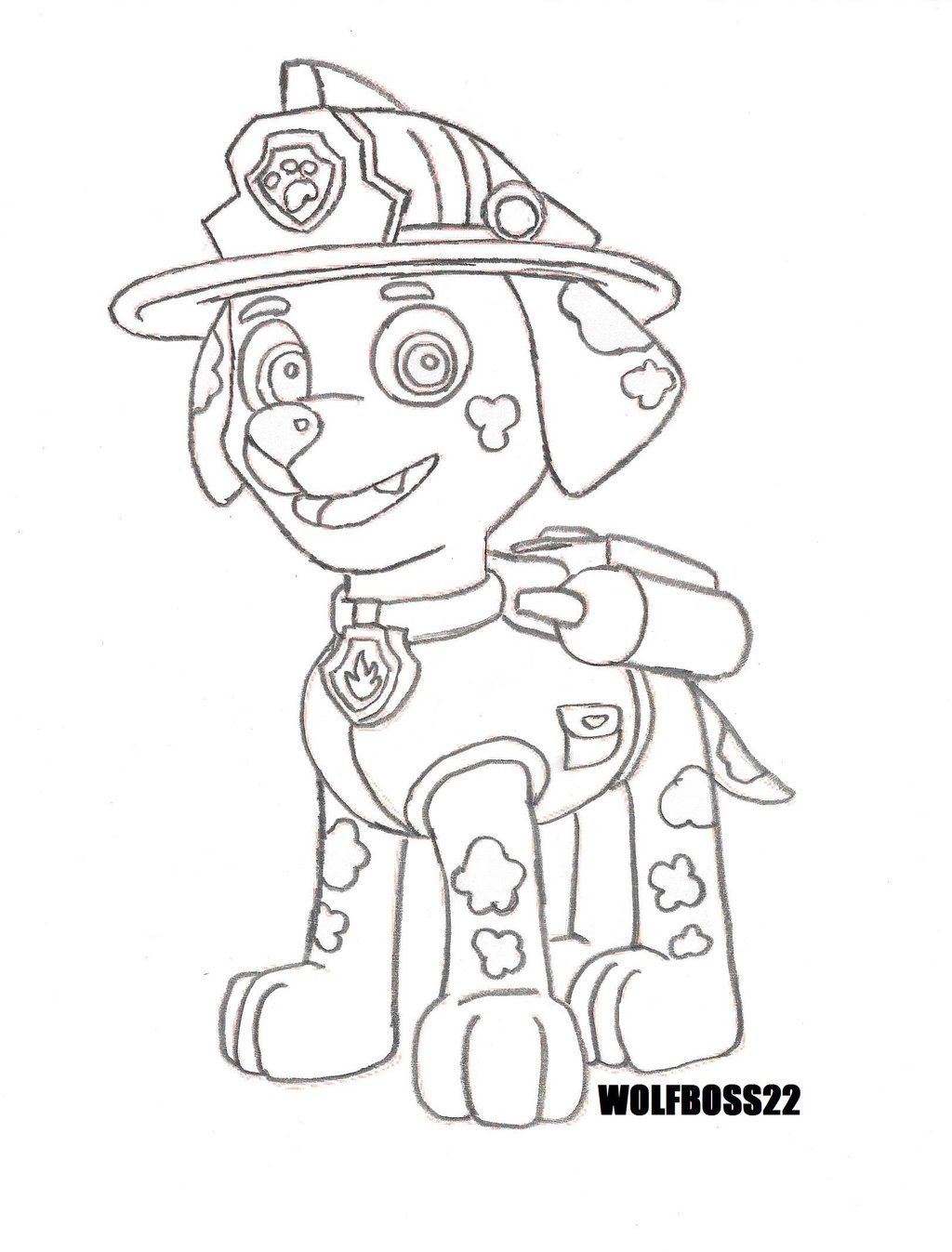 Paw Patrol Coloring Pages Marshall Coloring Coloring Home