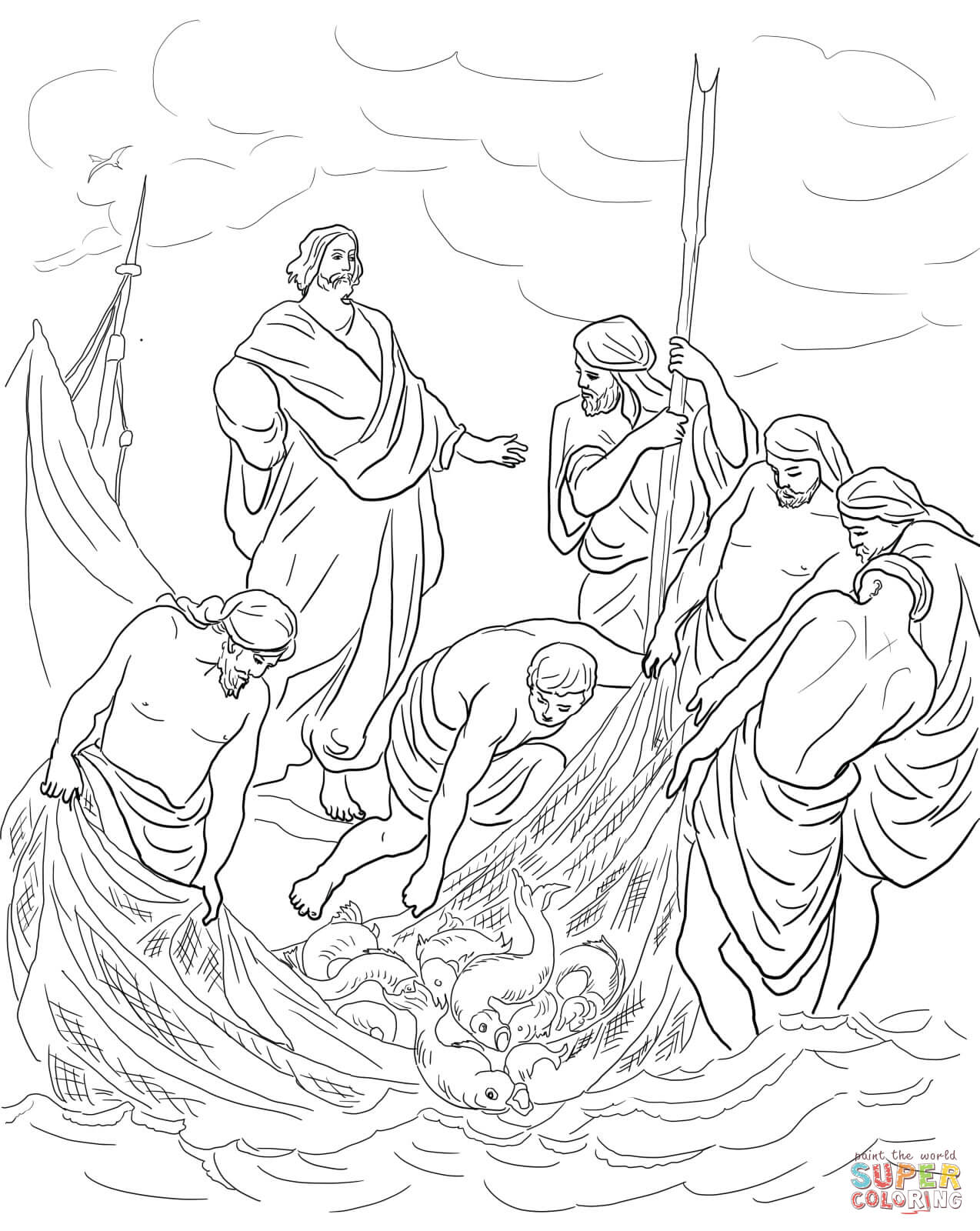 loaves and fishes coloring page coloring home