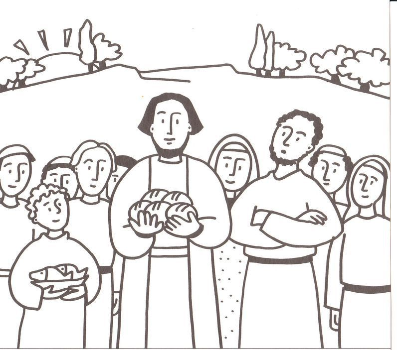 Colouring Pages Jesus Feeds 5000 : Jesus feeds coloring page home