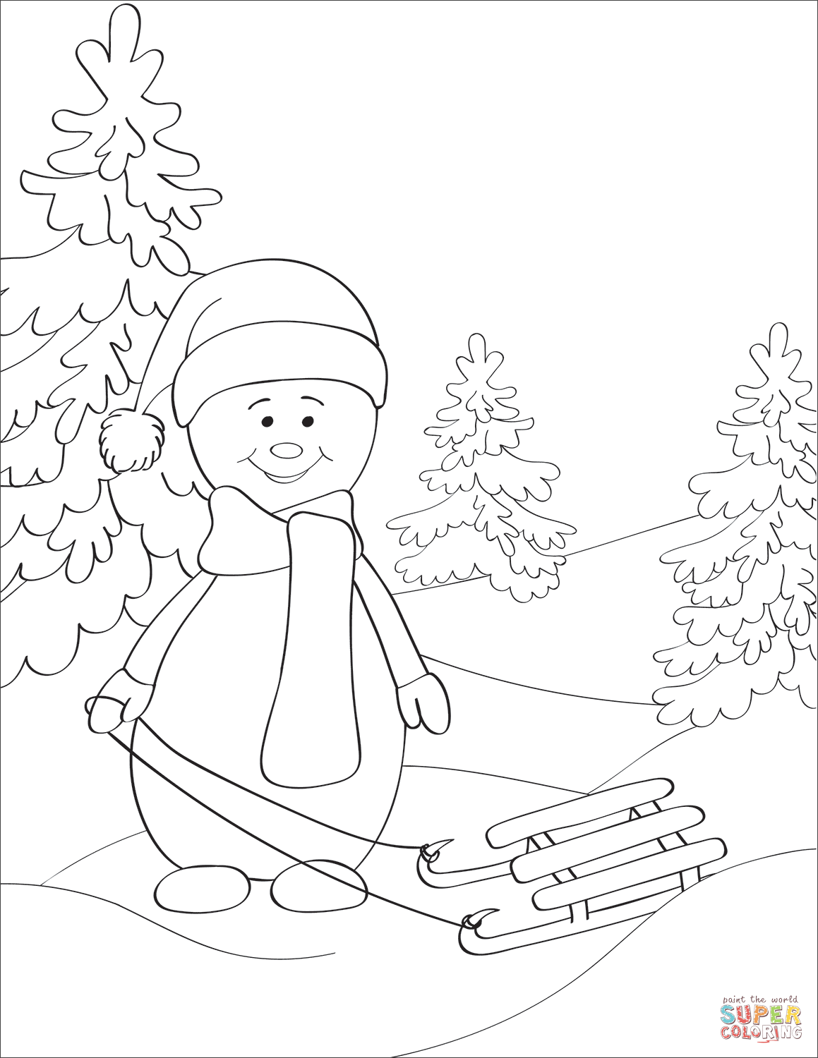 Snowman with Sled coloring page | Free Printable Coloring Pages