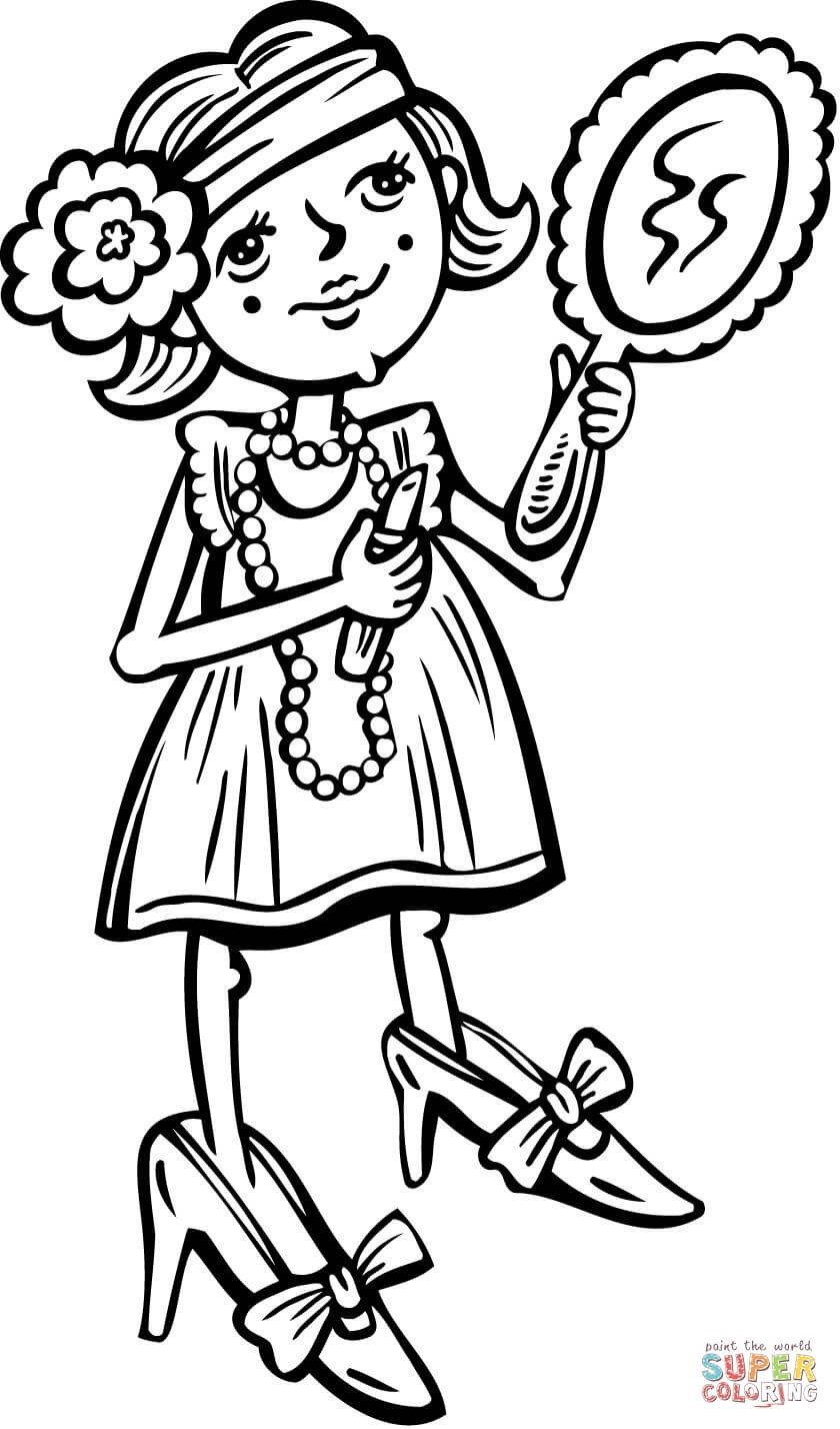 coloring : Little Girl Coloring Pages Elegant Young Girl Putting Makeup On Coloring  Page Little Girl Coloring Pages ~ queens