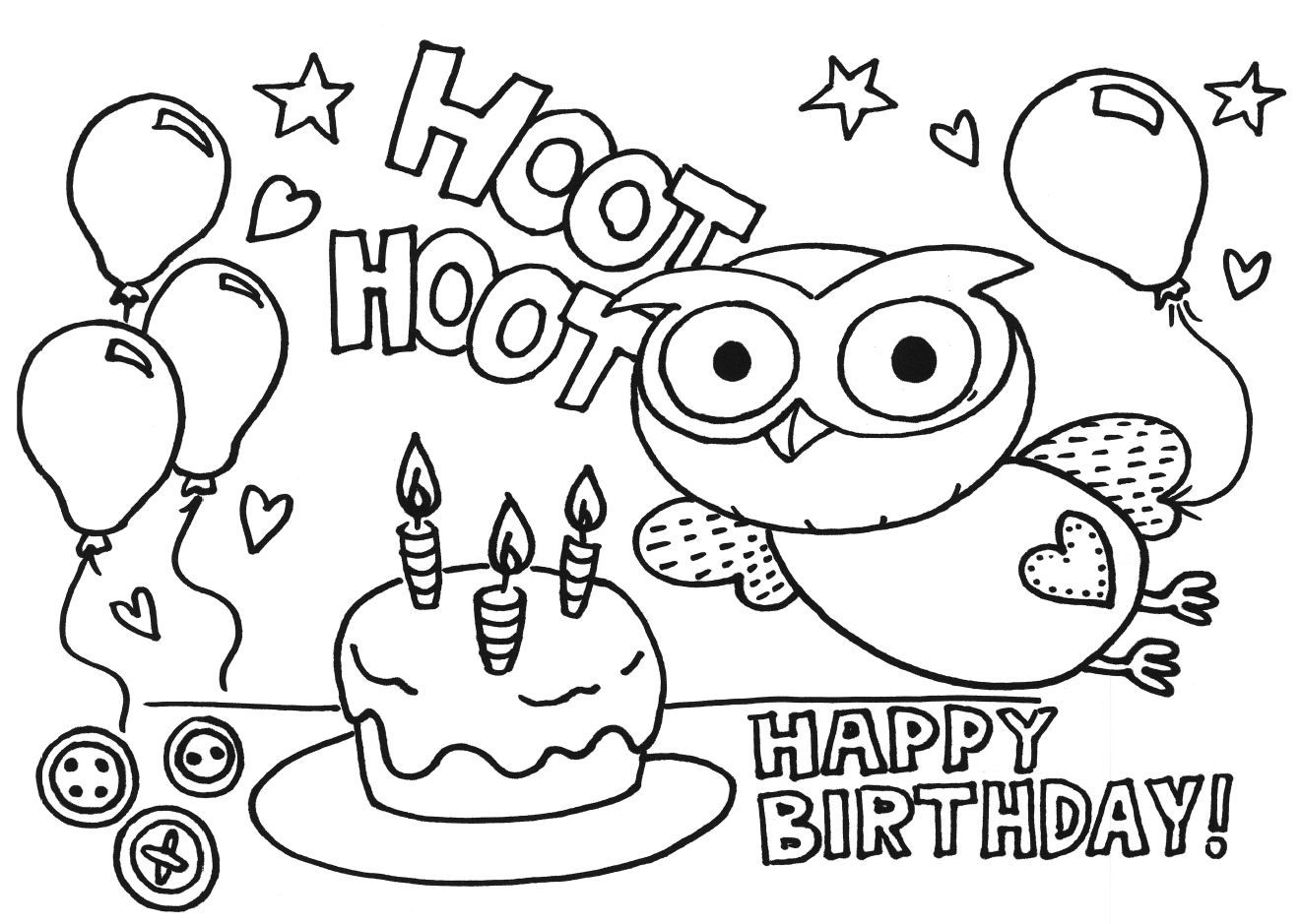 happy birthday coloring pages | Only Coloring Pages