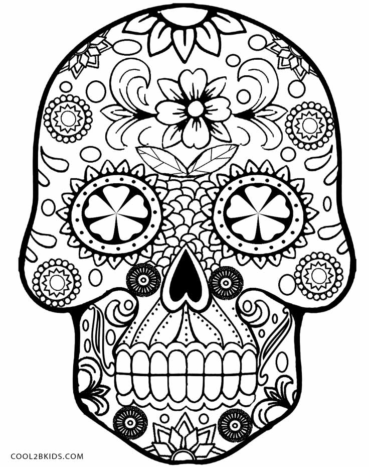 Skull Coloring Pages For Girls