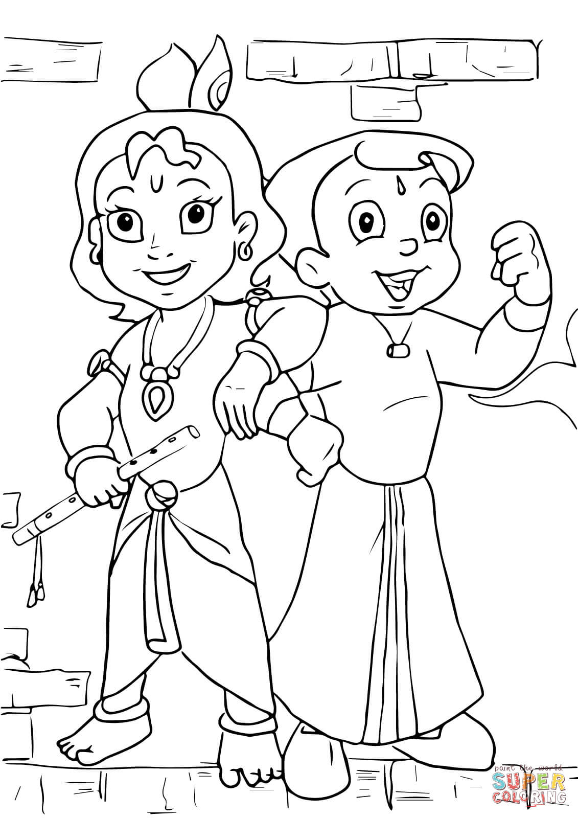 coloring pages of krishna chota bheem images coloring home