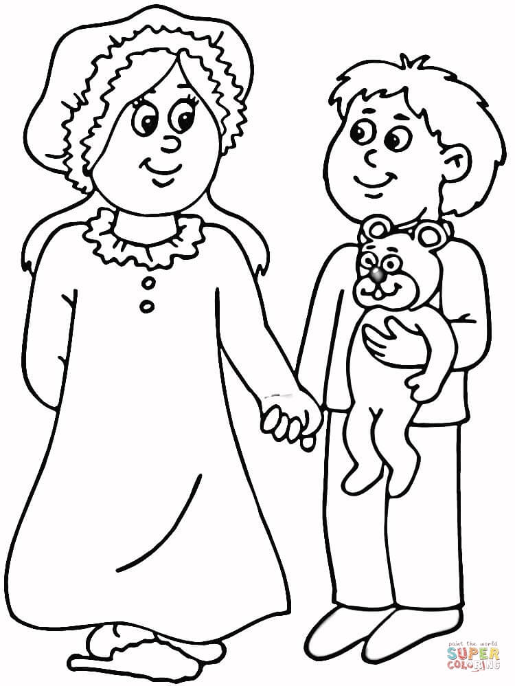 Mom And Son In Pajamas Coloring Page Free Printable Coloring Pages