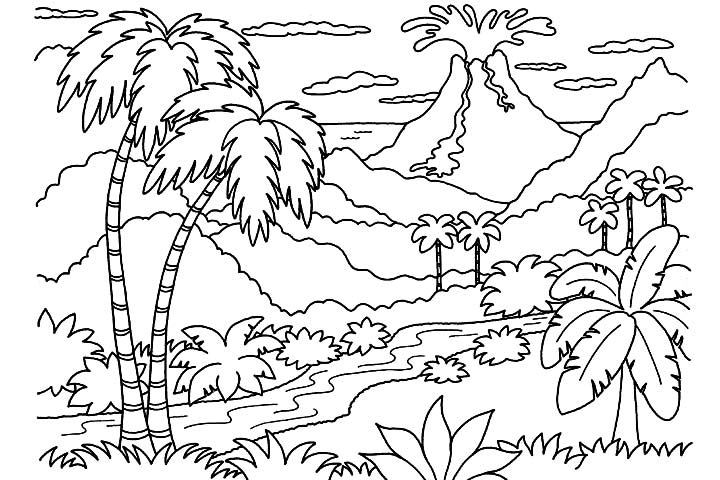 Coloring Pages Of A Volcano  Coloring Home