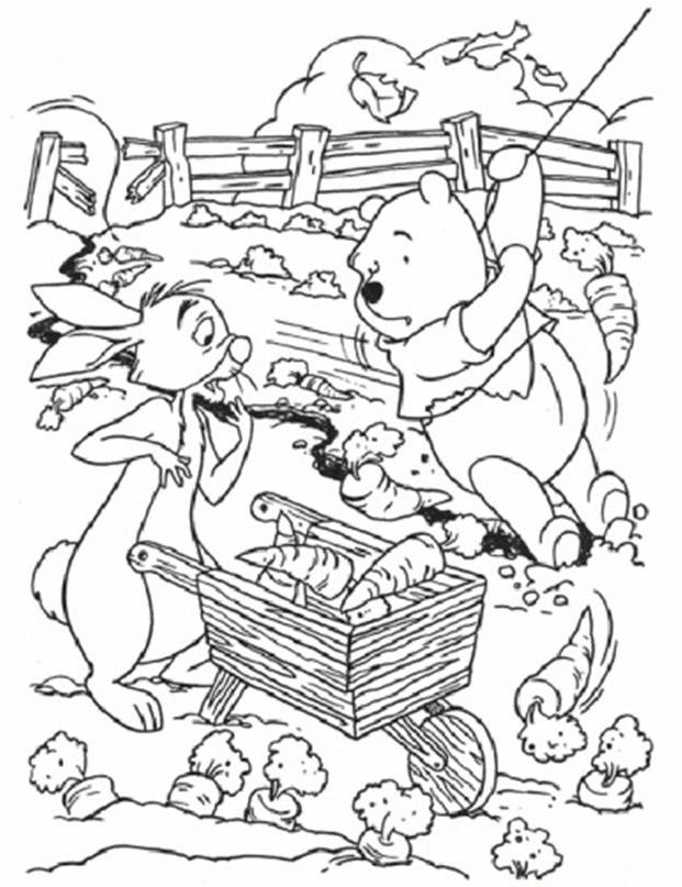 coloring pages for kids rabbit on winnie the pooh cartoon - Winnie The Pooh Coloring Pages