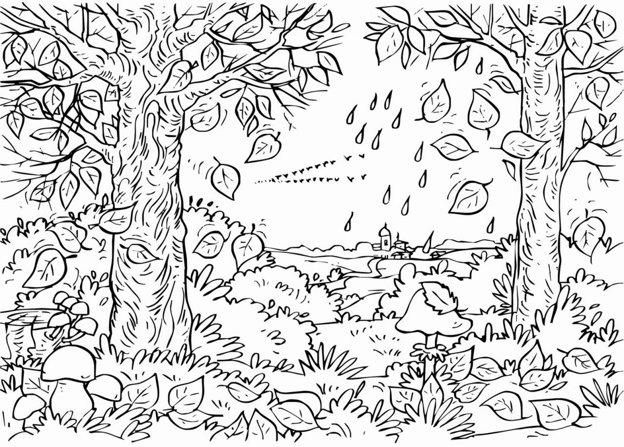 Adult Coloring Pages Trees Autumn Coloring Page For Kids | Kids ...
