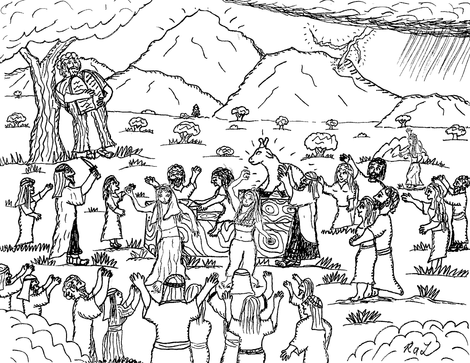 Robin's Great Coloring Pages: Moses sees the Children of Israel worshipping  the Golden Calf