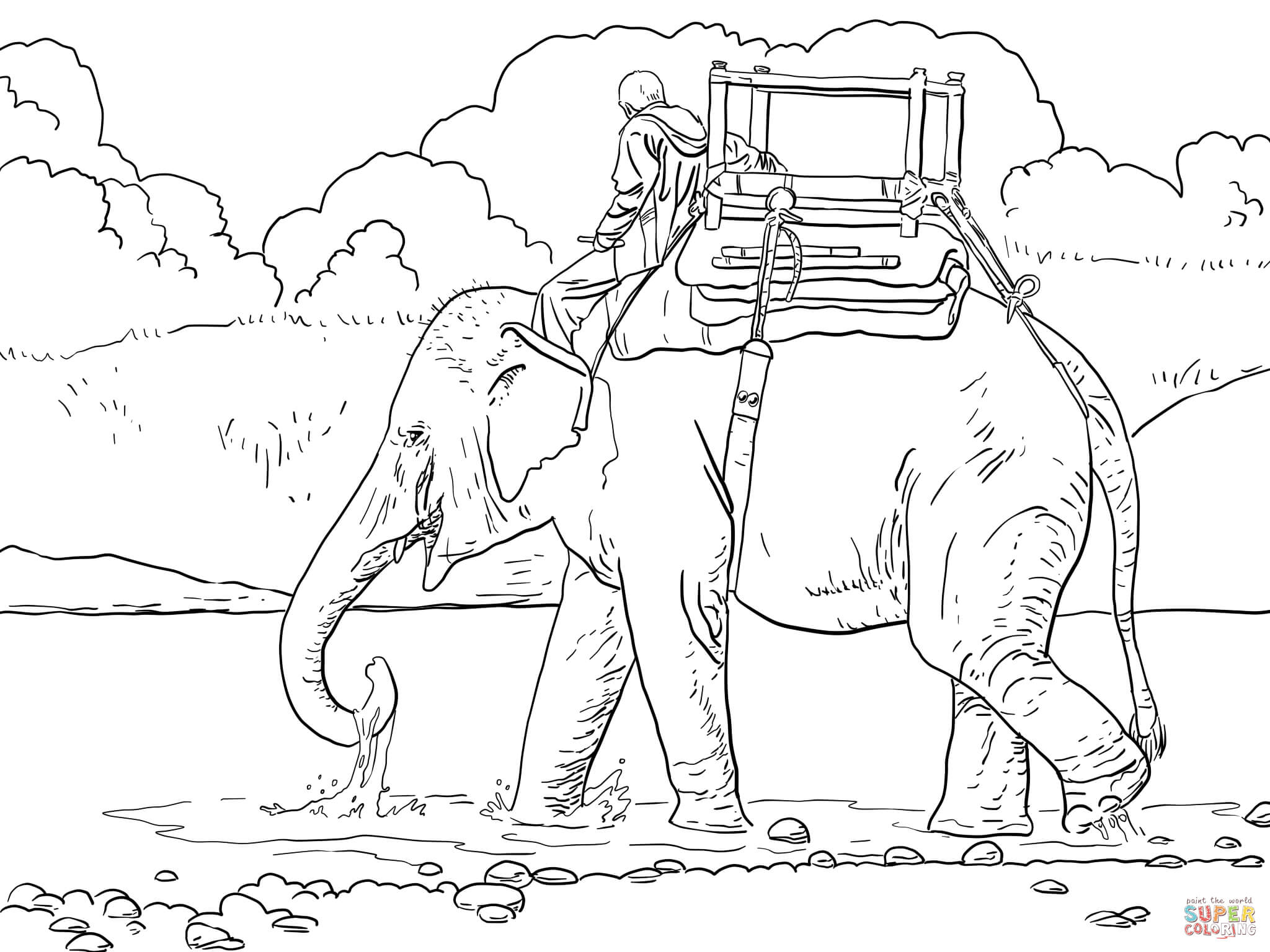 Indian elephant coloring page coloring home for Coloring pages for kids elephant