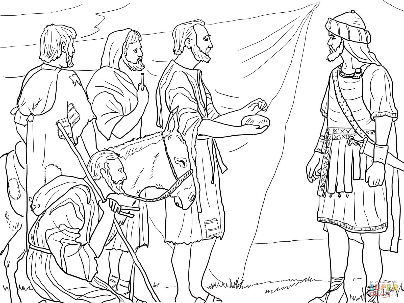 coloring page of israelites crossing the river