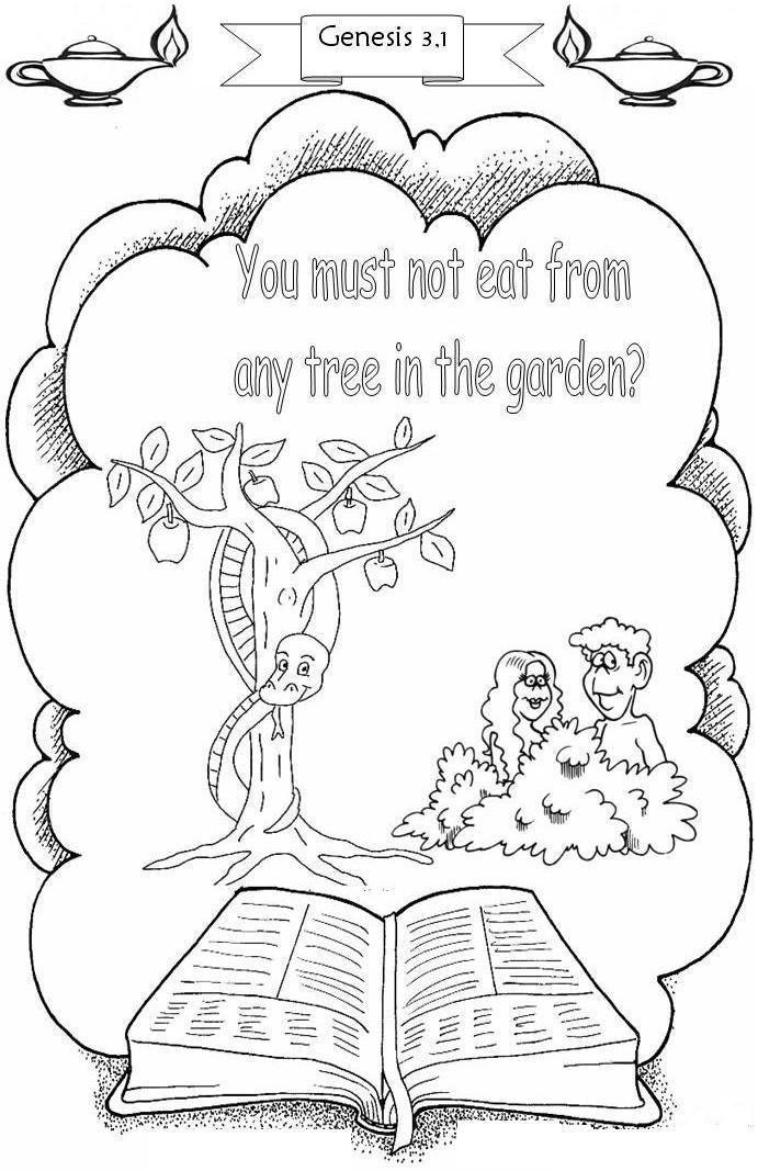 Adam And Eve Printable Coloring Pages With Verse Coloring
