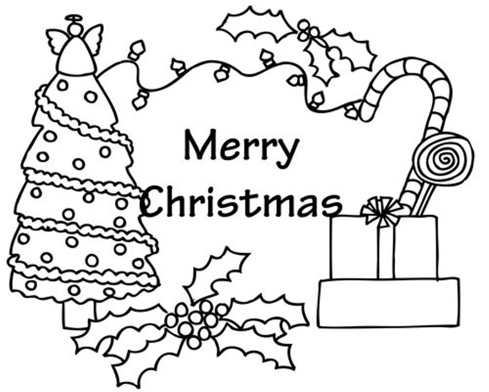 Christmas tree with presents coloring page coloring home for Christmas cards coloring pages