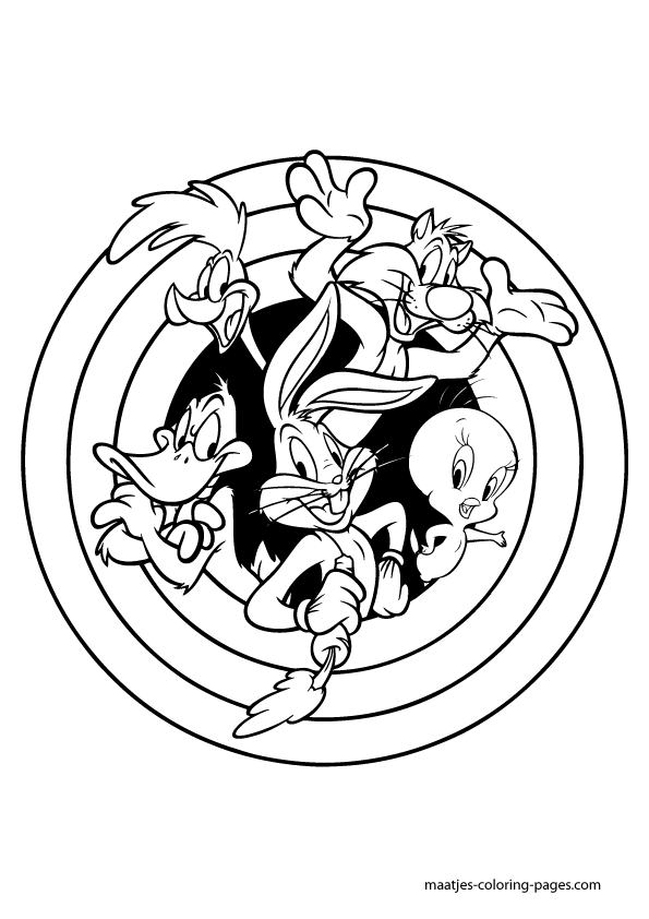 Looney Tunes All Characters Photo Coloring Page | Cartoon coloring ... | 842x595