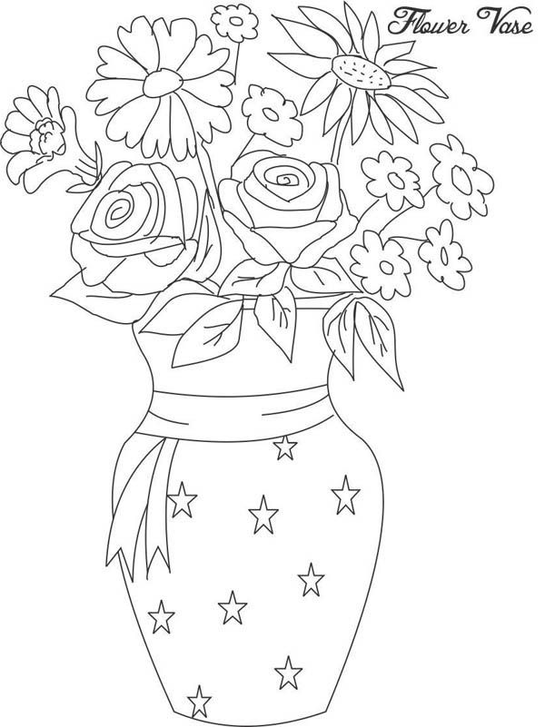 Flower In Vase From Beautiful Bouquet Coloring Page