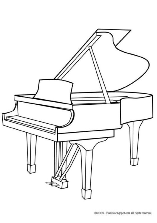 Coloring page grand piano in 2019 | Drawing piano, Musical ...