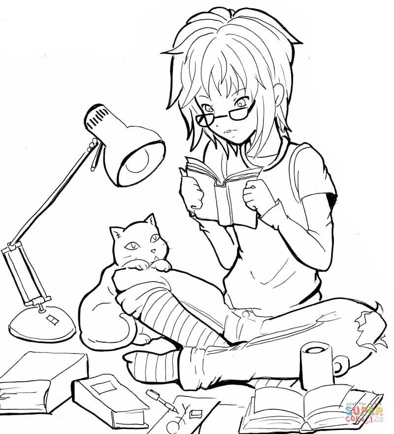 Anime cat girl coloring pages coloring home Coloring book wiki