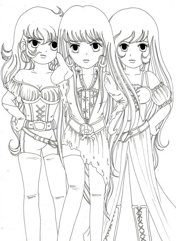 Three Girls Coloring Page AZ