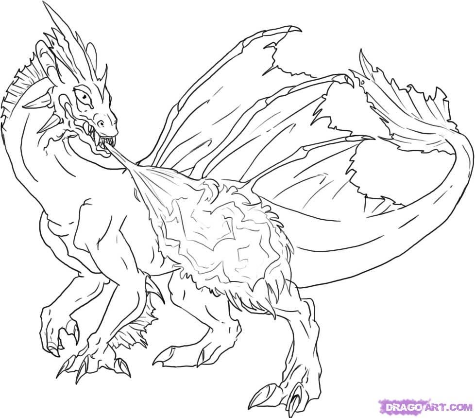 Fire Breathing Dragon Coloring Pages - Coloring Home