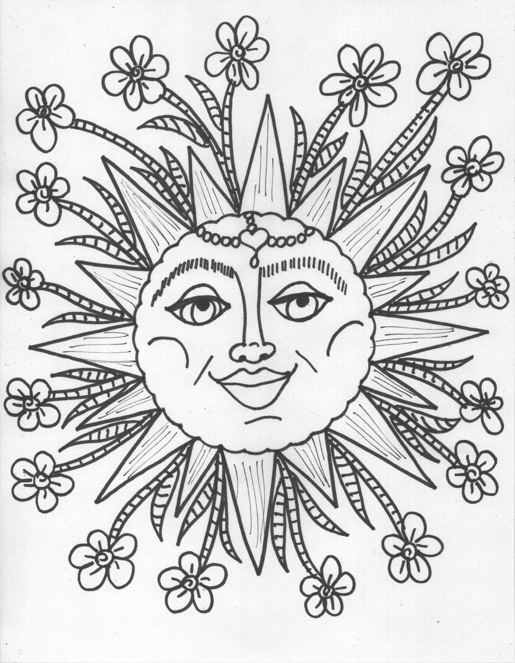Adult Coloring Pages Of The Sun - Coloring Home