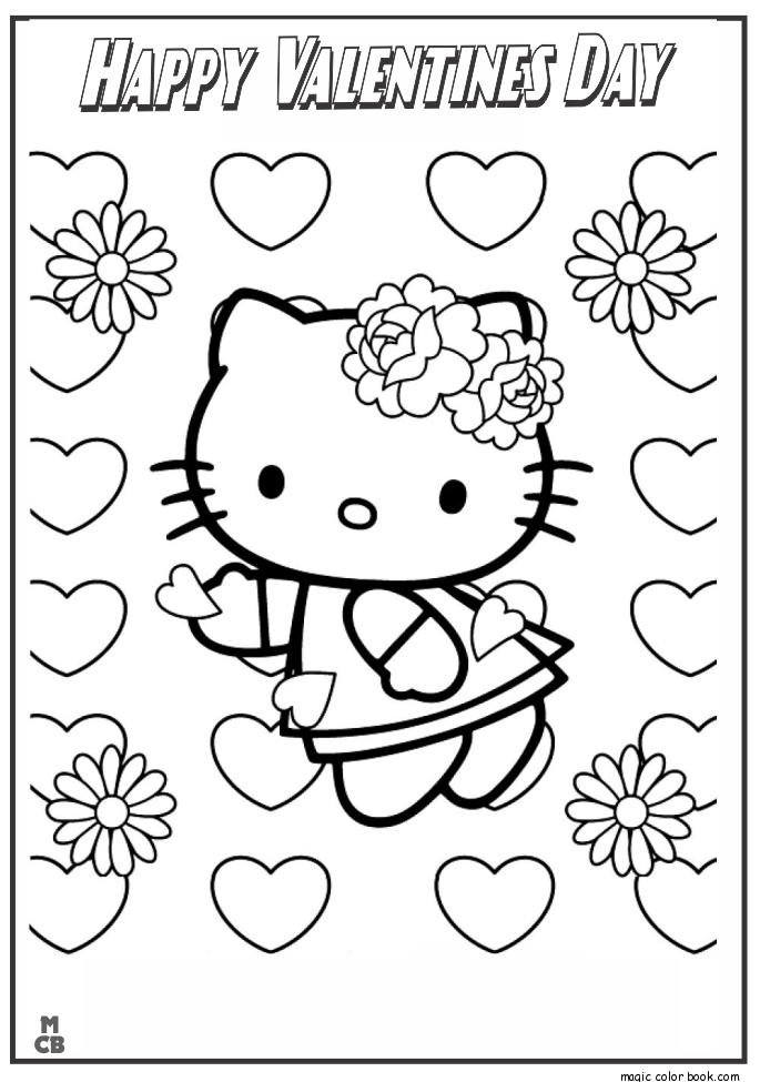 Free Hello Kitty Valentine Coloring