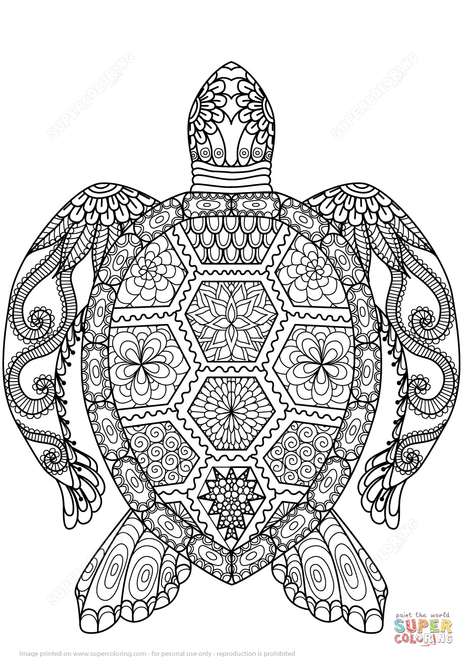 Turtle Zentangle coloring page | Free Printable Coloring Pages