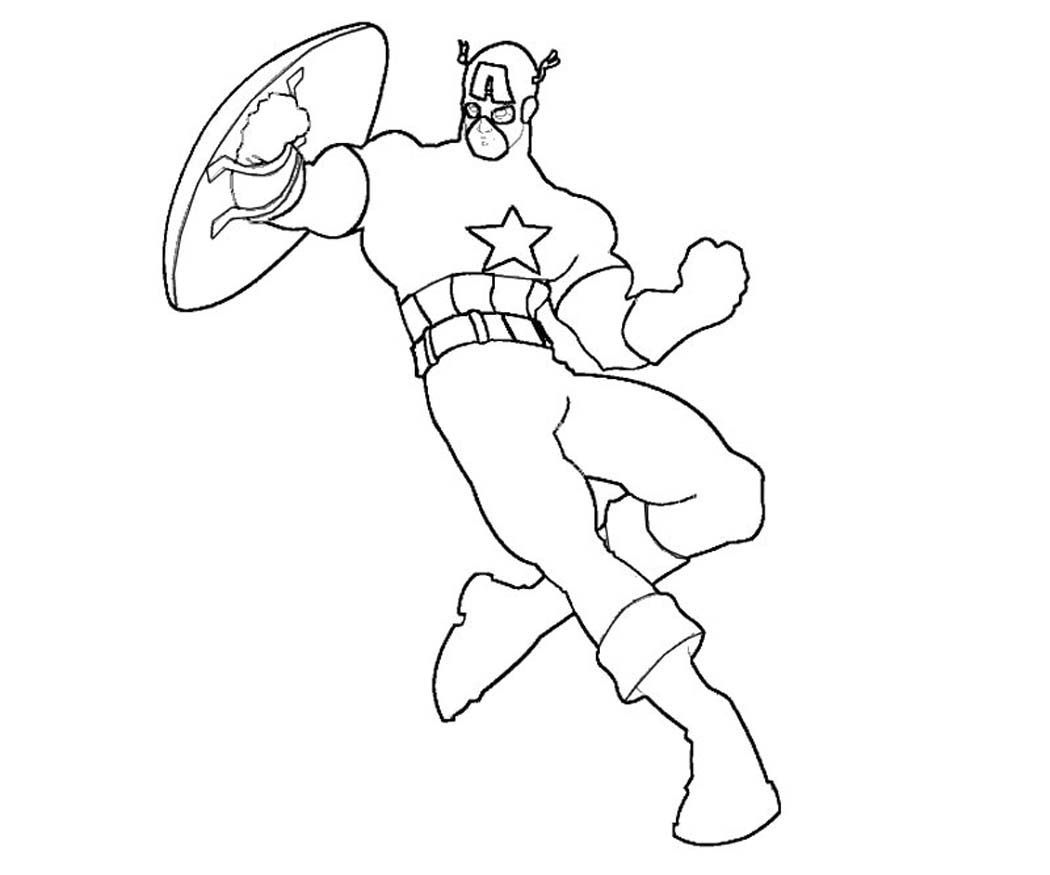 Capitan America Para Colorear: Marvel Captain America Coloring Pages