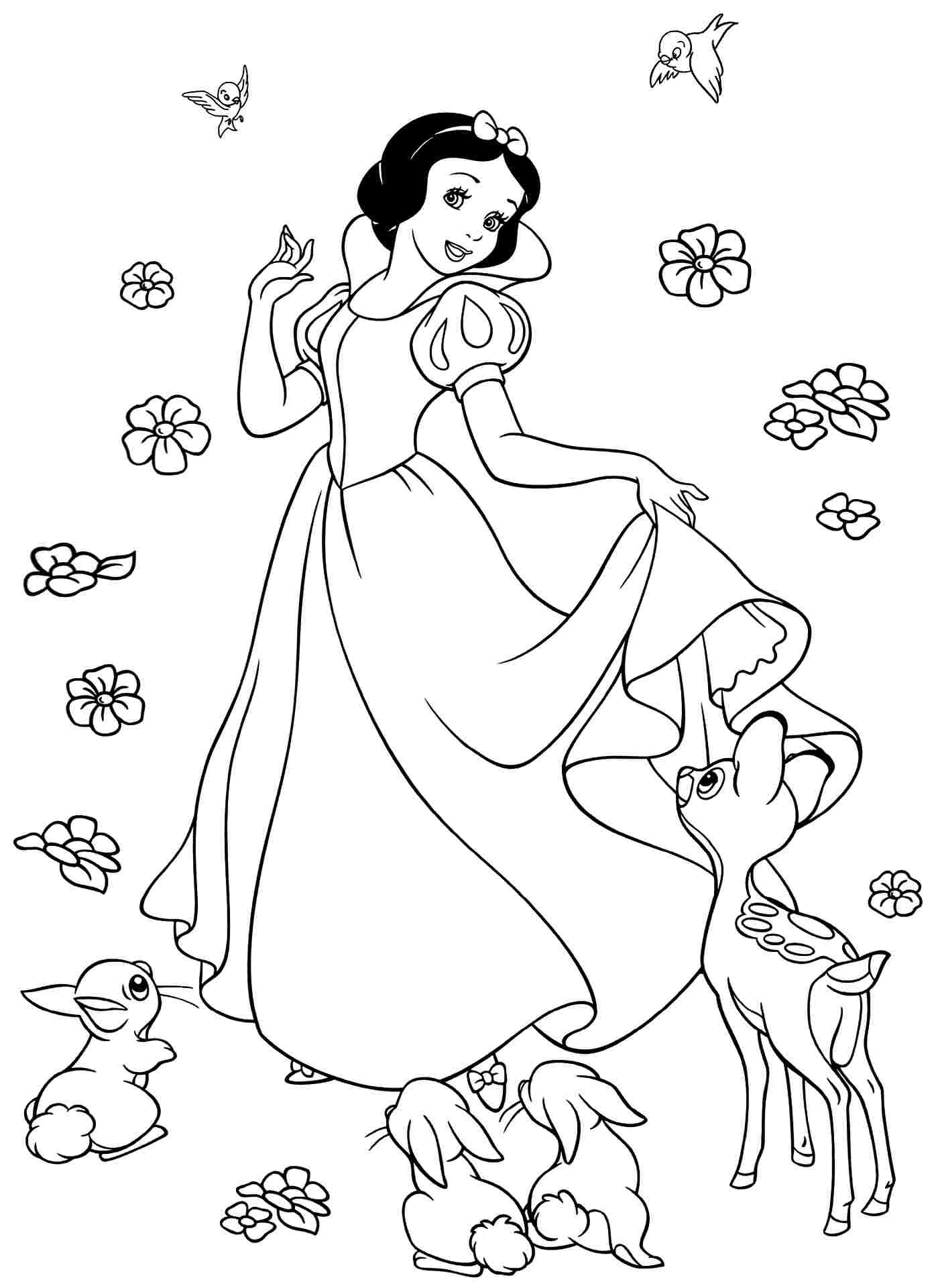 Walt disney coloring pages princess snow white the prince