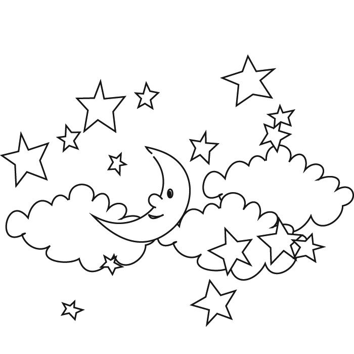 moon and stars coloring pages printable - coloring home - Coloring Pages Stars Moons