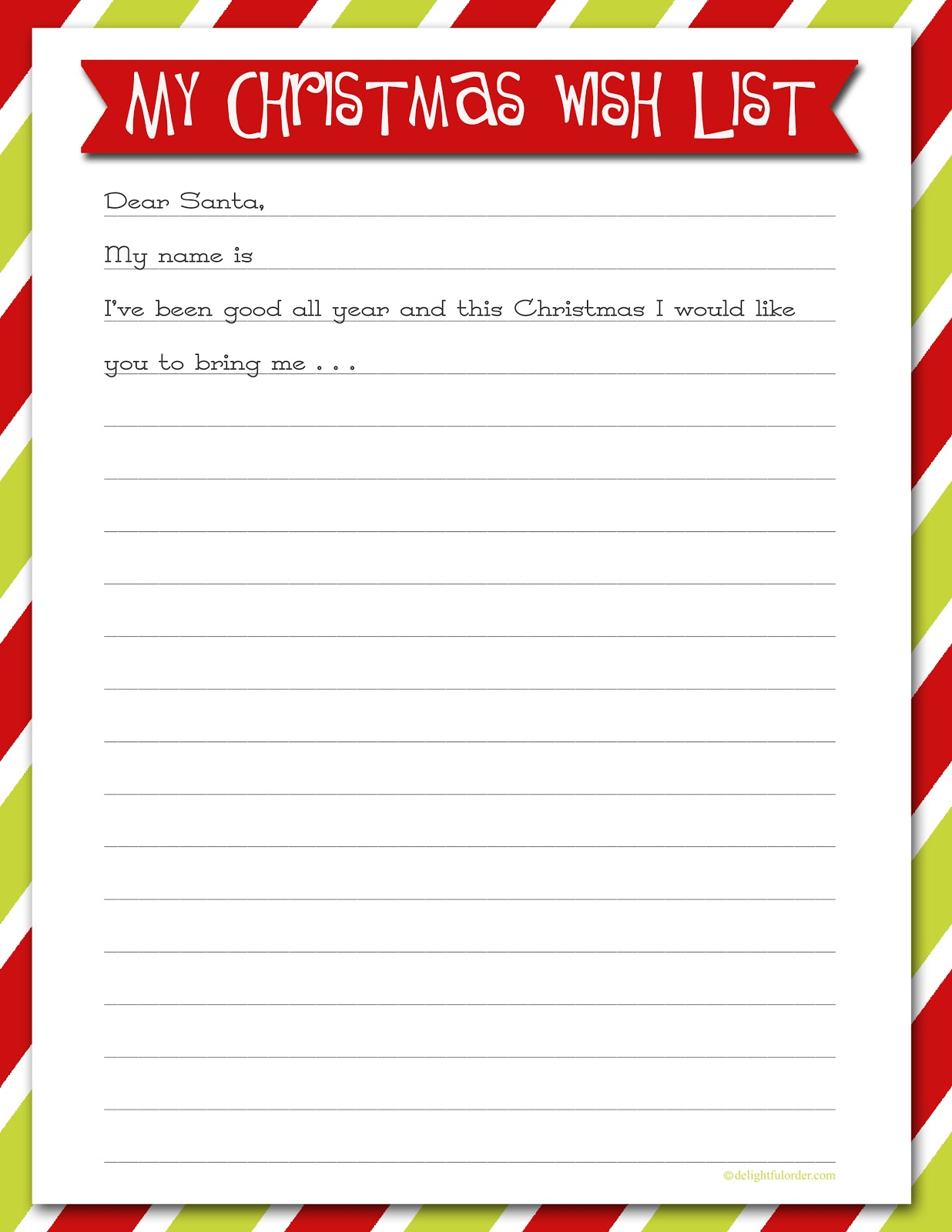 printable christmas list template – Printable Christmas List Template