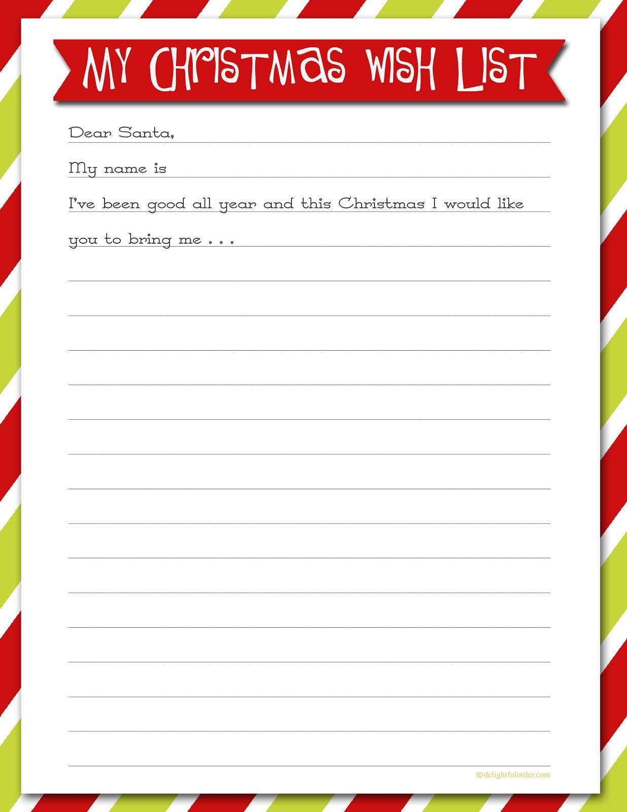 Kids Christmas List Template - Coloring Home