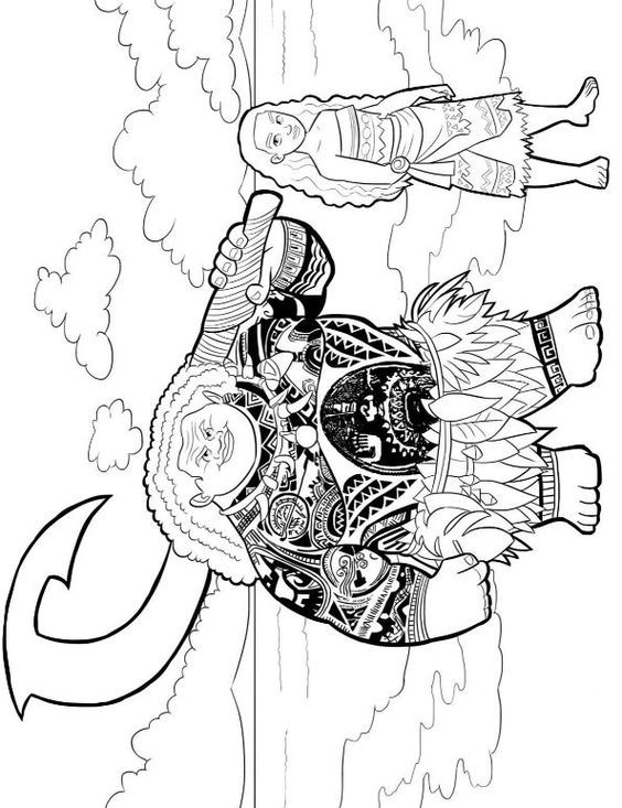 coloring page Moana and Maui | Coloring pages | Pinterest | Maui ...