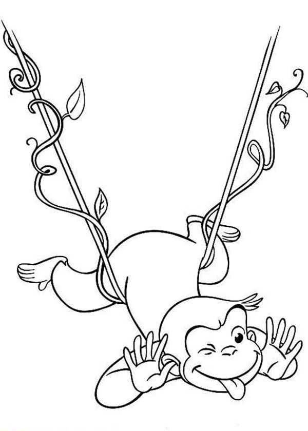 Curious George Hanging On Floating Tree Root Coloring Page ...