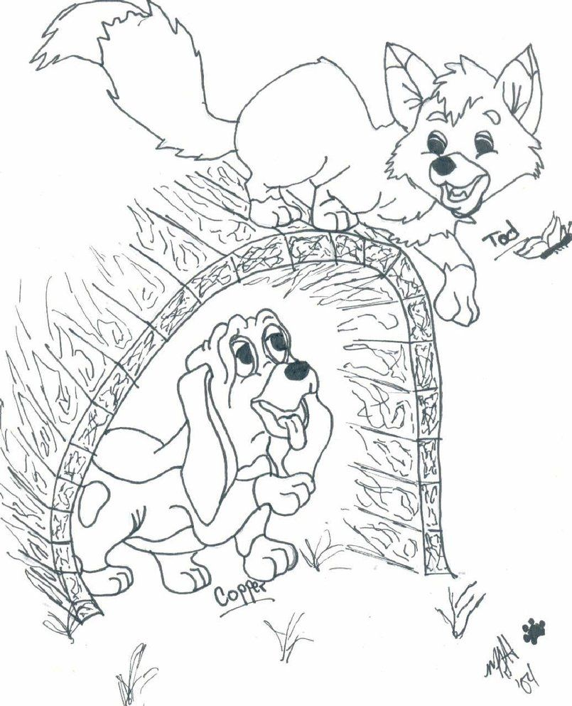 fox and hound coloring pages - photo#18