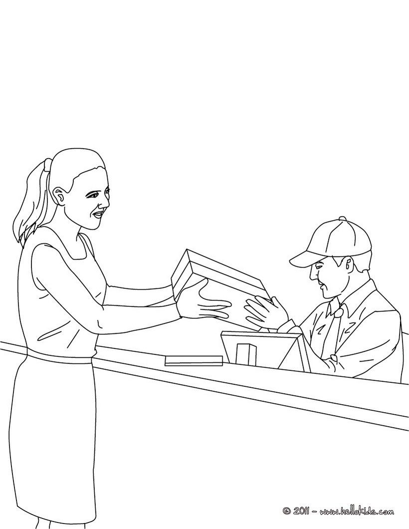 POSTMAN coloring pages - Postman in the parcel post office