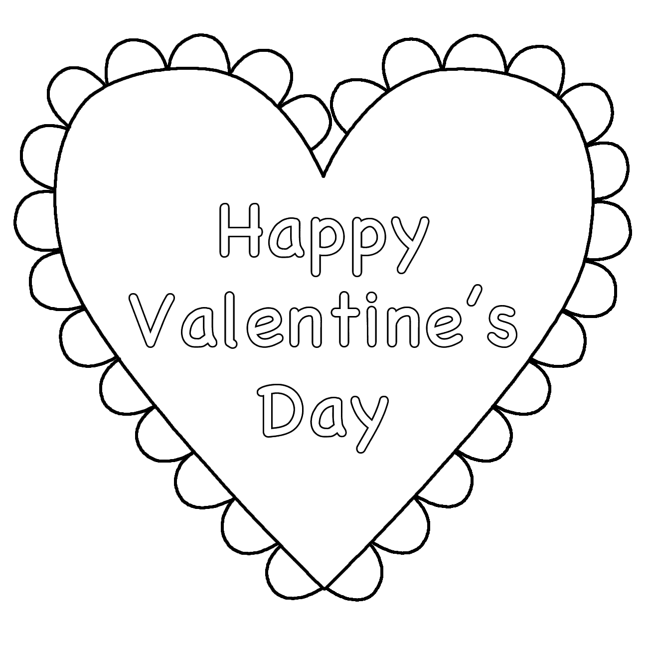 Heart (Happy Valentine's Day) - Coloring Page (Valentine's Day)