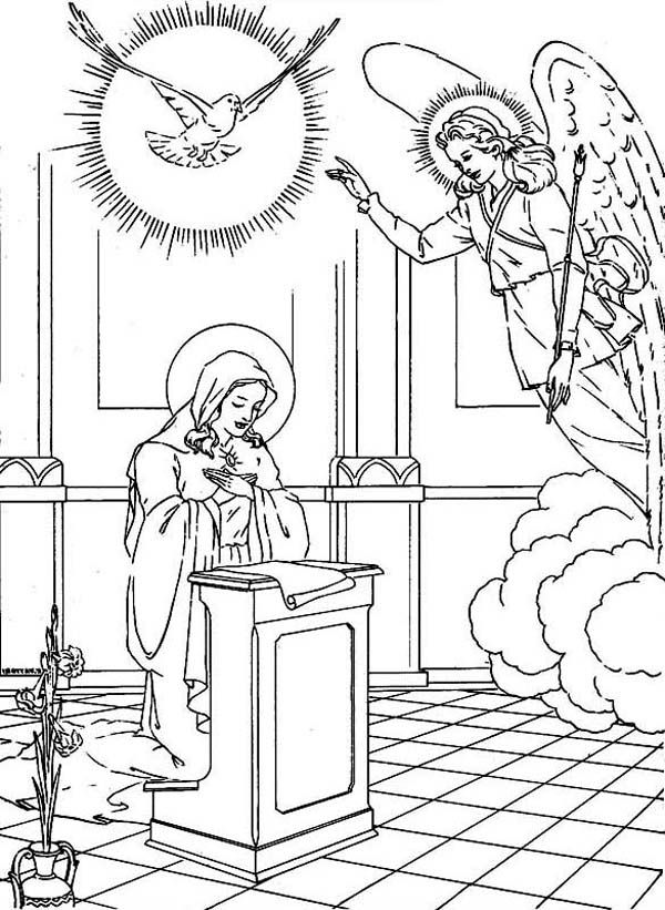 angel and mary coloring page coloring home