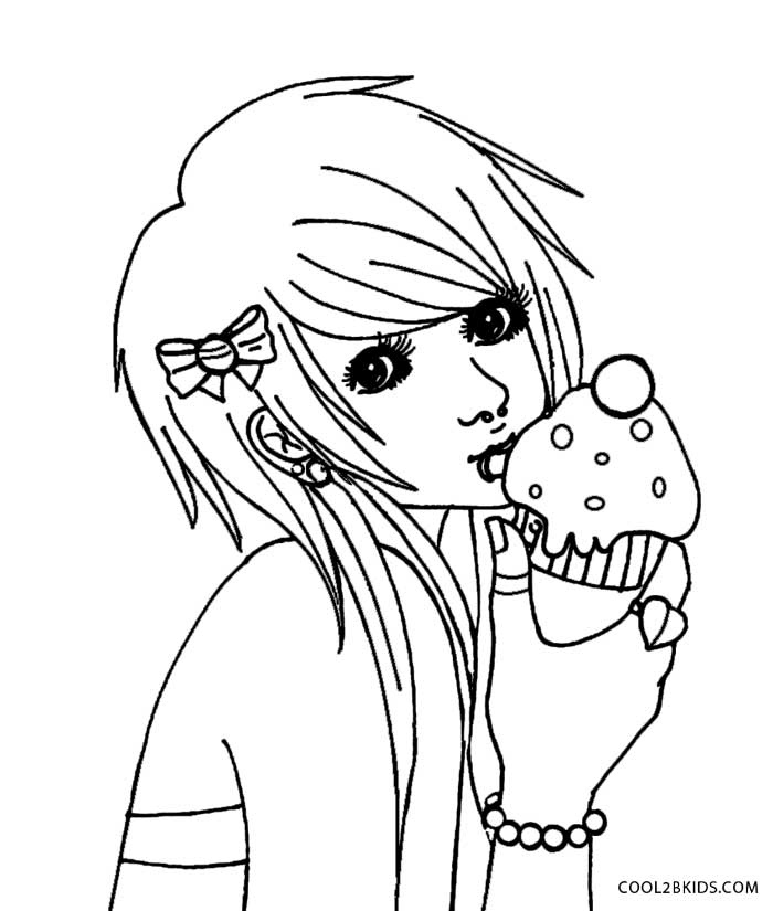 anime girl coloring pages emo - photo#15